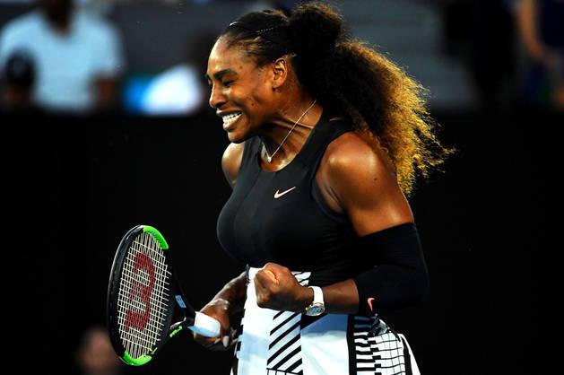 Serena Williams celebrando un punto durante la final del Abierto de Australia.