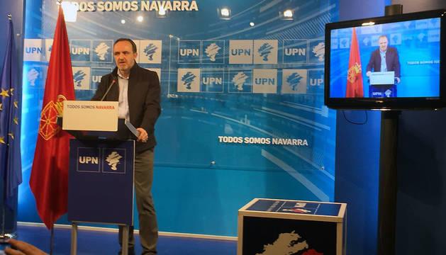El presidente de UPN, Javier Esparza, en la rueda de prensa de este viernes.