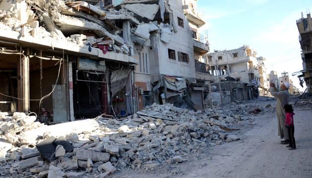 Una calle de la ciudad siria de Al-Bab, en Alepo.
