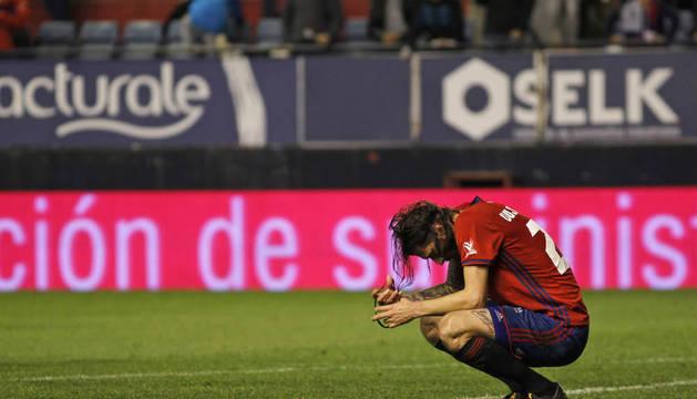 Vujadinovic, abatido tras finalizar el partido en El Sadar