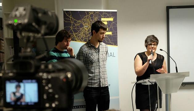Foto de Íñigo López, Gontzal Aparicio y Ana Isabel Cordobés, durante una intervención este fin de semana en el Editors Lab.