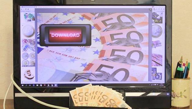 foto de dinero delante de una pantalla de ordenador