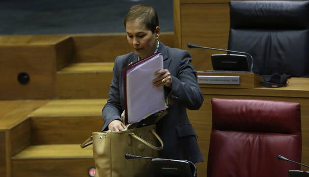 Uxue Barkos, este jueves, en el Parlamento de Navarra