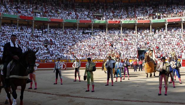 El paseíllo de la corrida del pasado 10 de julio en Pamplona.