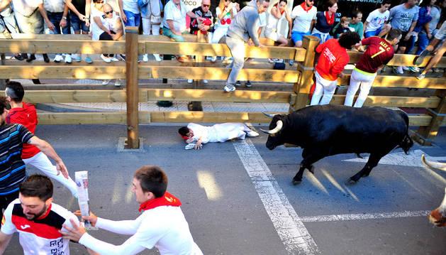 Una imagen de los encierros del año pasado en Tudela.