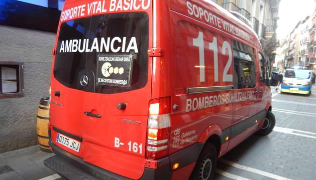 Foto de la ambulancia, en el lugar del suceso.