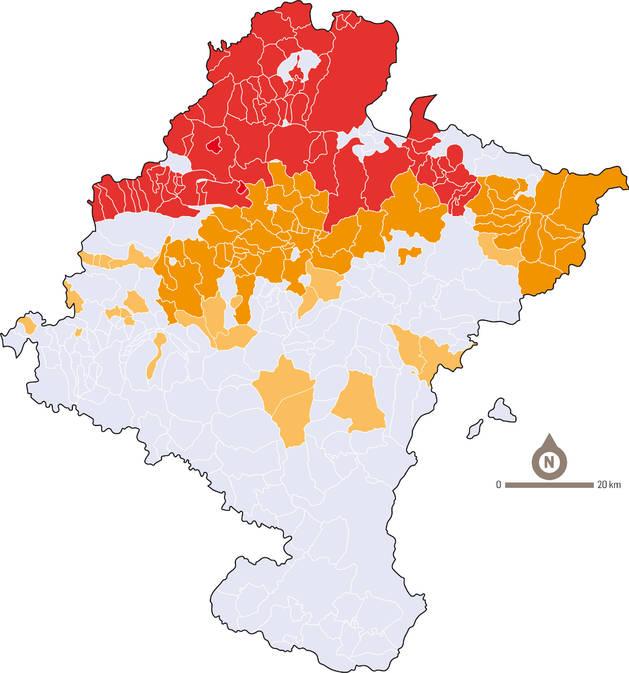 Mapa con las zonas de la Ley del Euskera