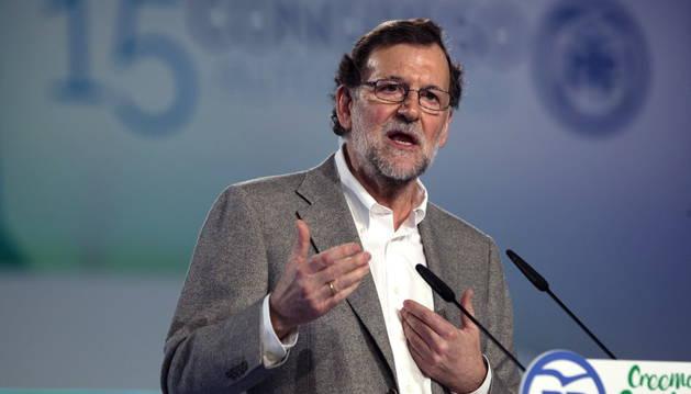 Imagen de Mariano Rajoy durante su intervención en la clausura del Congreso del Partido Popular de Andalucía.