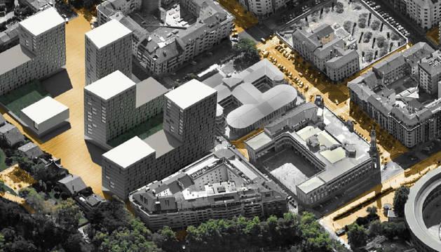 En la imagen, en la parte inferior, el edificio de la calle Leyre, el más afectado por el proyecto de Salesianos.