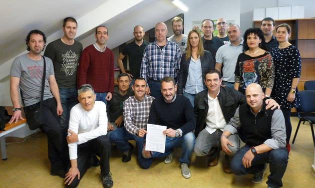 Imagen de los sindicalistas tras su acuerdo de este martes.