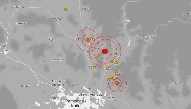 Epicentros de los terremotos de marzo al norte de Pamplona.