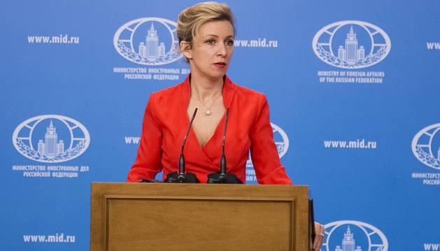 María Zajárova, la portavoz del Ministerio de Exteriores ruso