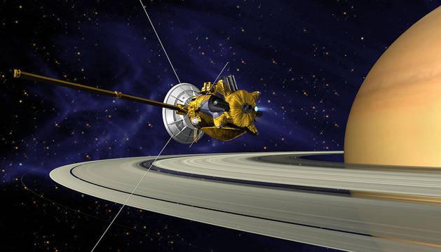 La imagen de la sonda Cassini en una simulación de ordenador