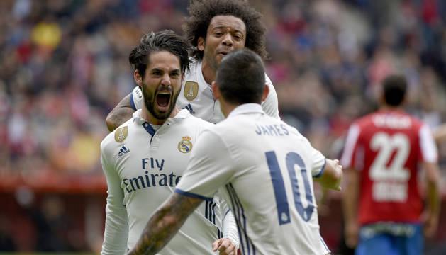 Isco celebra el primer gol que supuso el empate a uno.