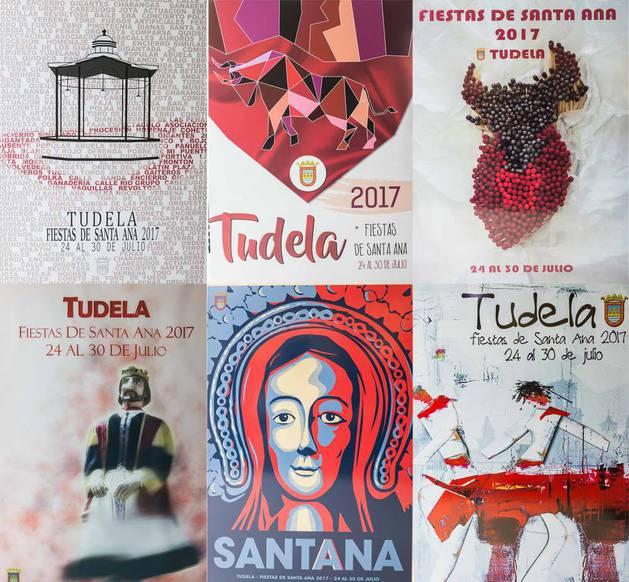 Imagen de los carteles finalistas del concurso de fiestas de Santa Ana 2017.