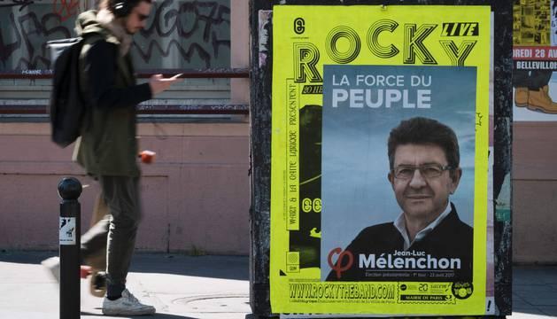 Mélenchon en un cartel electoral de su campaña