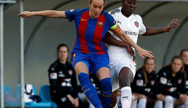 Marta Unzué, en un partido del Barcelona Femenino.