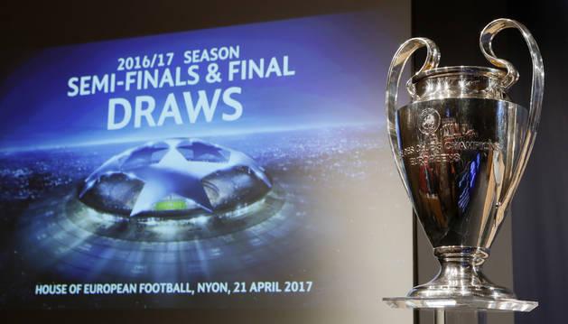 Foto del sorteo de la Liga de Campeones.