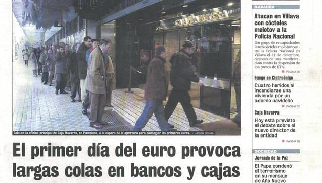 Portada de Diario de Navarra el 2 de enero de 2002.