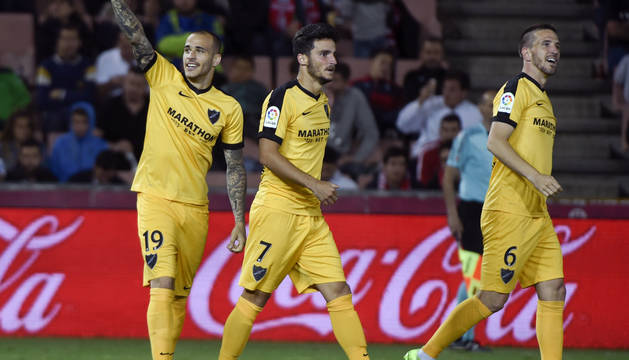 Sandro celebra uno de sus dos goles.