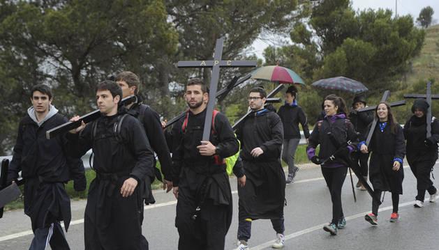 Foto de los peregrinos volverán a caminar hasta Ujué el domingo.