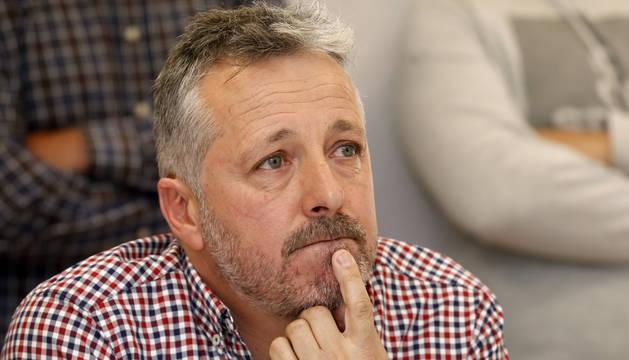 Foto del presidente Félix Bariáin,  ante los medios ayer.