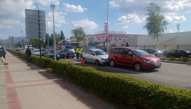 Accidente entre cuatro coches en la carretera de Zaragoza.