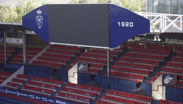 Foto del aspecto del nuevo videomarcador instalado durante esta misma semana en El Sadar.