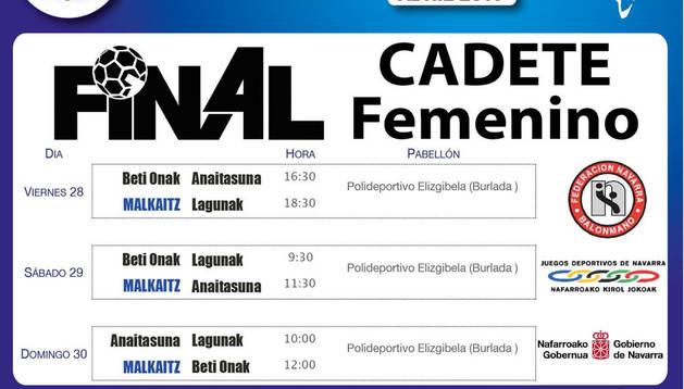Final a 4 de las cadetes de Lagunak ante Malkaitz, Beti Onak y Anaitasuna