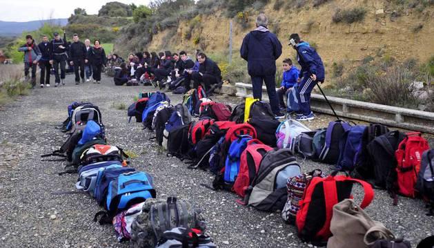 Fotoss de miles de romeros caminando a Ujué llegados de Tafalla, Beire, Murillo el Fruto, Pitillas, Carcastillo y Santacara