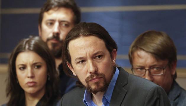 Pablo Iglesias, durante la presentación de la moción de censura.