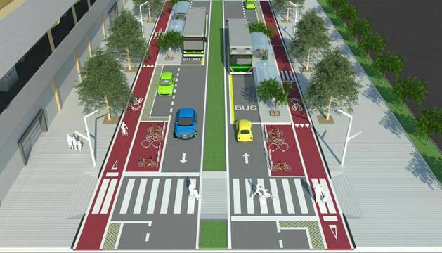 Propuesta del equipo de movilidad del Ayuntamiento de Pamplona para la calle Sadar.