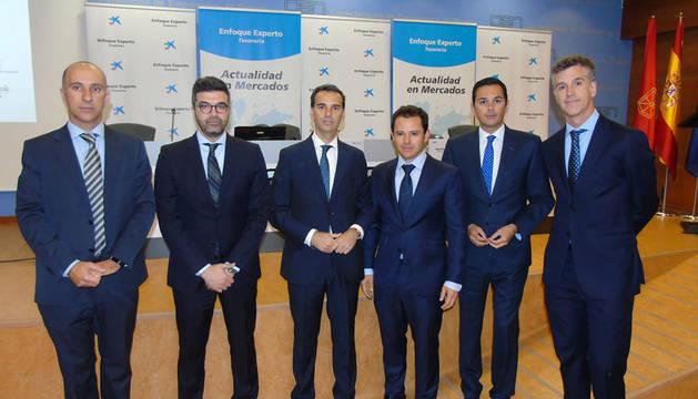 foto de Josep Mª Guivernau, Martí Dalmases, José Luis Larríu, Eugenio Tubio, Sameer Samham y Raúl Gallardo participaron en la jornada informativa.