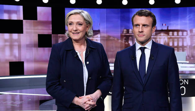 Imagen de Marine Le Pen y Emmanuel Macron, candidatos a presidir la República de Francia.