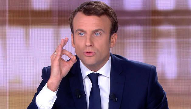 Macron, durante el debate presidencial.