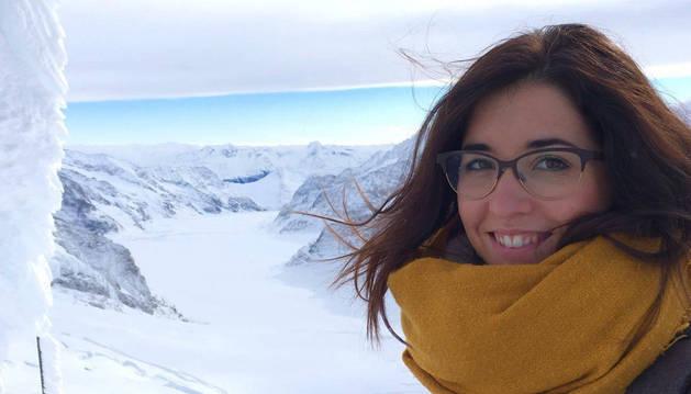 Andrea Jiménez, en una excursión al Jungfraujoch, el punto de ferrocarril más alto de Europa (3.454 metros).