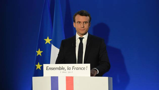 Emmanuel Macron, antes de dar su discurso como presidente de Francia.