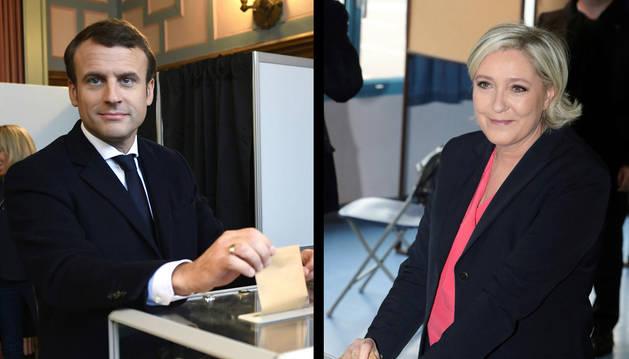Le Pen y Macron votan en sus colegios electorales