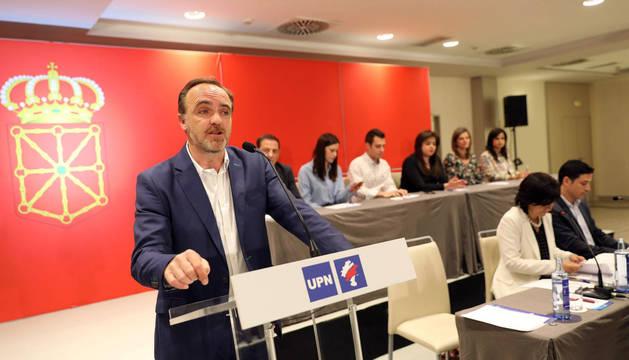 Esparza, este domingo, en la asamblea de UPN en Pamplona