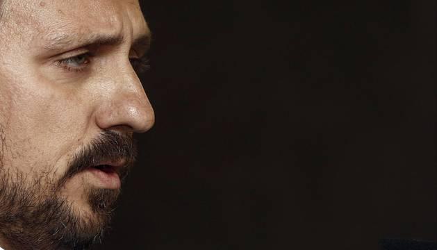 Lafón durante su comparecencia en el Hotel Zenit de Pamplona
