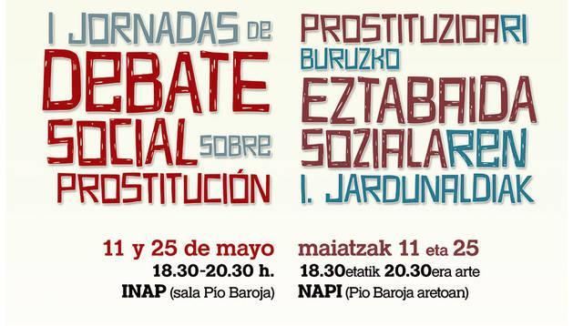 Cartel de las  I Jornadas de Debate sobre Prostitución.