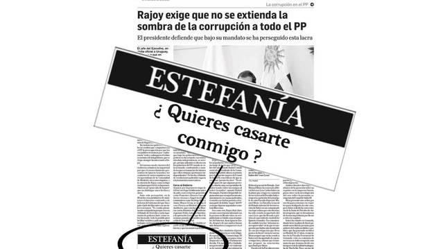 Imagen de la página de Diario de Navarra donde apareció publicada la petición de matrimonio.