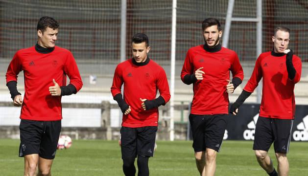 Riera, Berenguer, García y Clerc durante un entrenamiento
