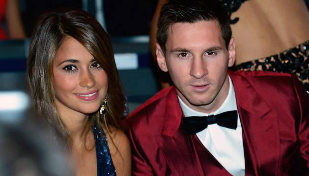 Messi y su novia, Antonella Roccuzzo, en una imagen de 2014.