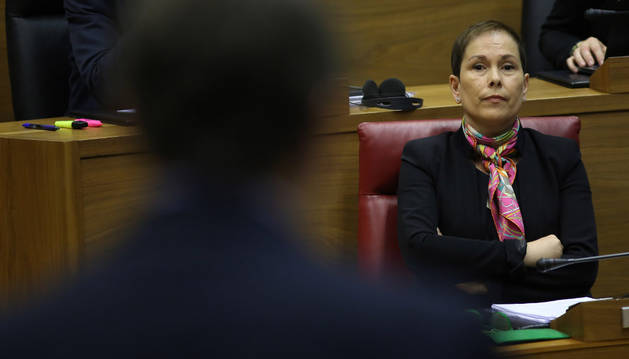 Uxue Barkos, presidenta de Navarra, en una reciente sesión parlamentaria.