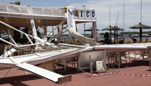 Estado del club náutico Río Piedras tras el paso del tornado