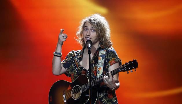 Foto del cantante español Manel Navarro durante los ensayos para la final de Eurovisión en Kiev.
