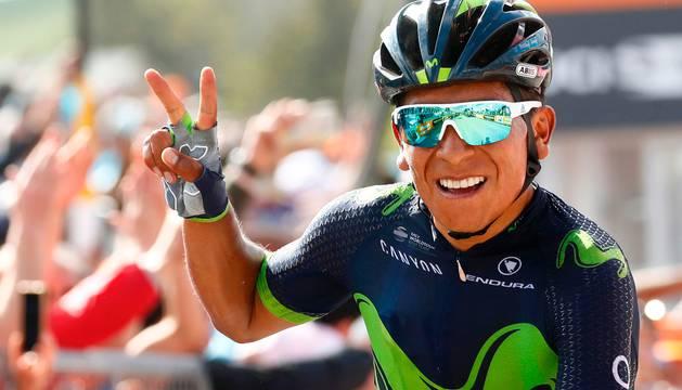 Nairo Quintana celebra el triunfo en el Blockhaus.
