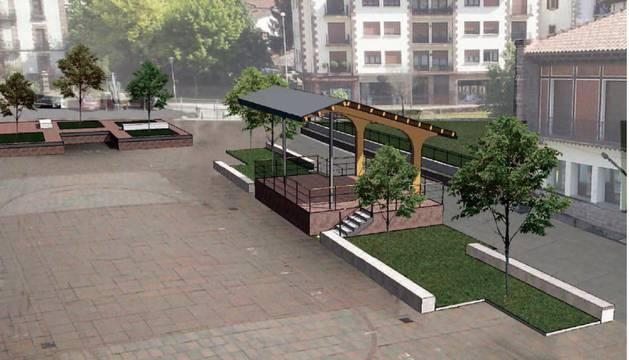 Fotomontaje con el nuevo diseño de la plaza de los Fueros en Elizondo.