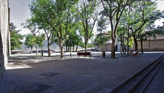 Foto de la plaza Virgen de la O que este año podría utilizarse como comedor ecológico en San Fermín.